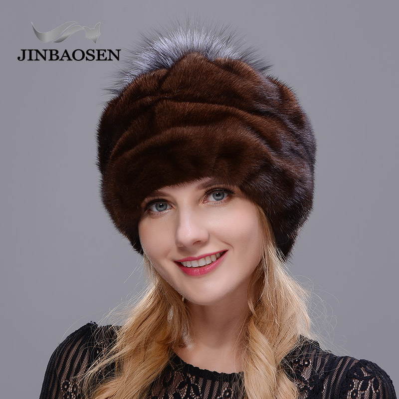 JINBAOSEN 2018 Winter fur cap all real mink hat, buds fashionable brown warmth high quality hat Christmas fur hat Russian style