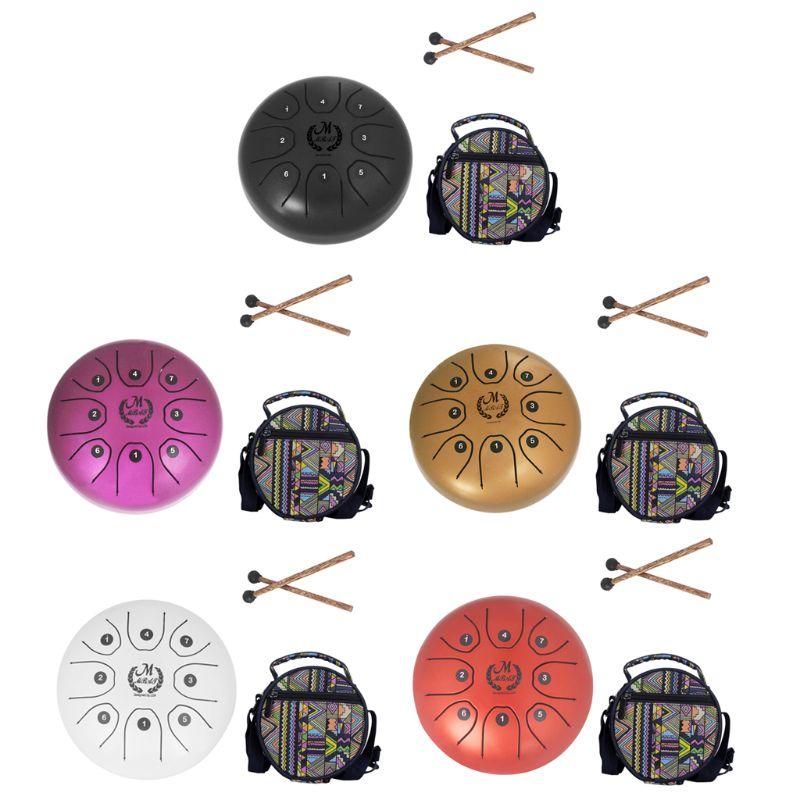 1 PC haute qualité 5.5 pouces C clé langue tambour Mini 8 tons en acier Portable main Pan tambour Percussion Instrument pour enfants