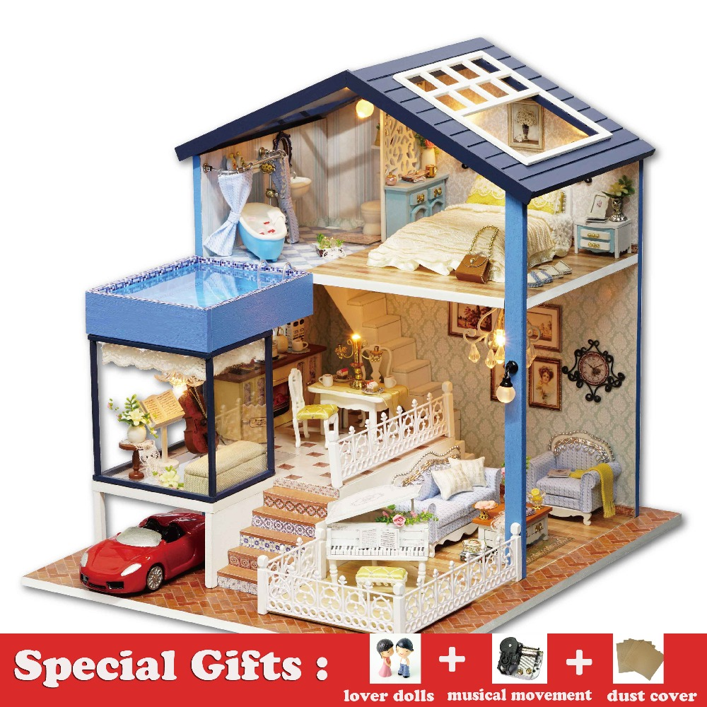 Wooden Dollhouse DIY Miniature House SEATTLE Villa Big Doll House with Car and Dust Cover Toys for Girl Birthday Gift Christmas diy miniature wooden dollhouse caribbean sea cute room with music big doll house toy for girl birthday gift christmas present