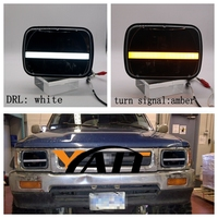 YAIT 2PCS 7inch Square High Low Beam Led Headlight With White DRL Amber Turn Signal For