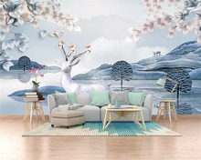 beibehang Customized eco-classic classic fashion stereo papel de parede wallpaper Nordic marble elk TV sofa bedroom background