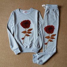 NiceMix 2019 spring autumn women set sporting suit long sleeve tops+pant 2 pcs sets rose embroidery sequins runway
