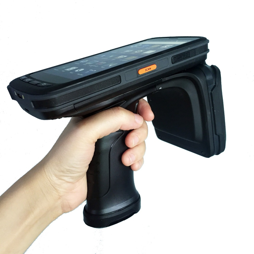 High Quality Mobile Data Collector Handheld PDA terminal 4G Android 6.0 1D / 2D Barcode Scanner with UHF RFID reader Pistol Grip