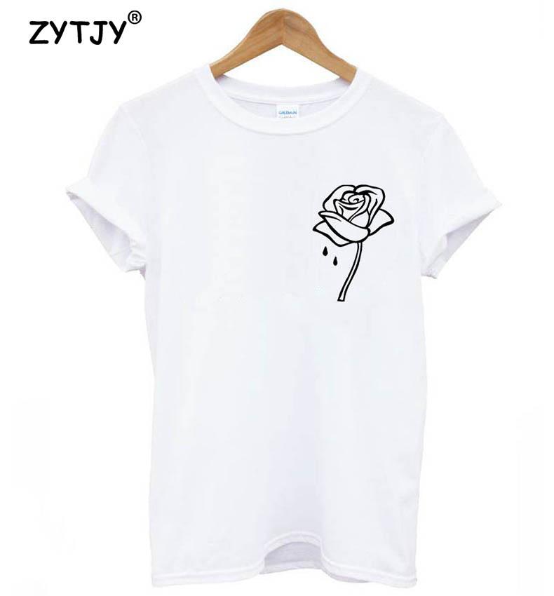 HTB1w.RIPVXXXXXnaXXXq6xXFXXXi - Rose flower pocket Print Women tshirt Cotton Casual