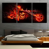 3 Piece Abstract Flaming Ride Motorcycle Modern Wall Painting Home Hallway Decor Art HD Printed Canvas