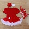 Ребенка комбинезон 3 шт. детской одежды комплект девочек насыщенный красный боути туту платье Jumpersuit повязка на голову обувь