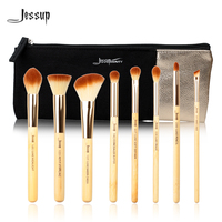 Jessup Brand 10pcs Beauty Bamboo Professional Makeup Brushes Set T138 Cosmetics Bags Women Bag CB001