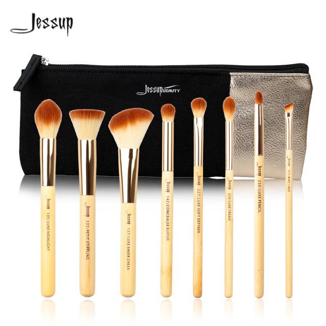 Jessup marca 8 pcs beleza de bambu pincéis de maquiagem profissional definida t138 & sacos cosméticos mulheres saco cb001