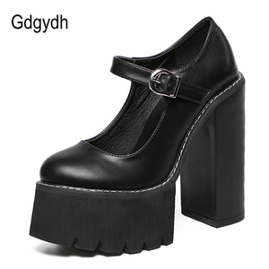 Image 2 - Gdgydh New Arrival Women Classic Pumps Shoes Spring Summer Black Leather Mary Jane Heels Fashion Buckle Platform Shoes Woman