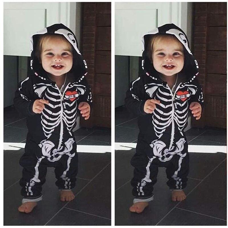Infant Kids Halloween Costume Toddler Skull Bone Jumpsuit Newborn Baby Cosplay Hooded Romper Horror Skull Baby Zipper Bodysuit