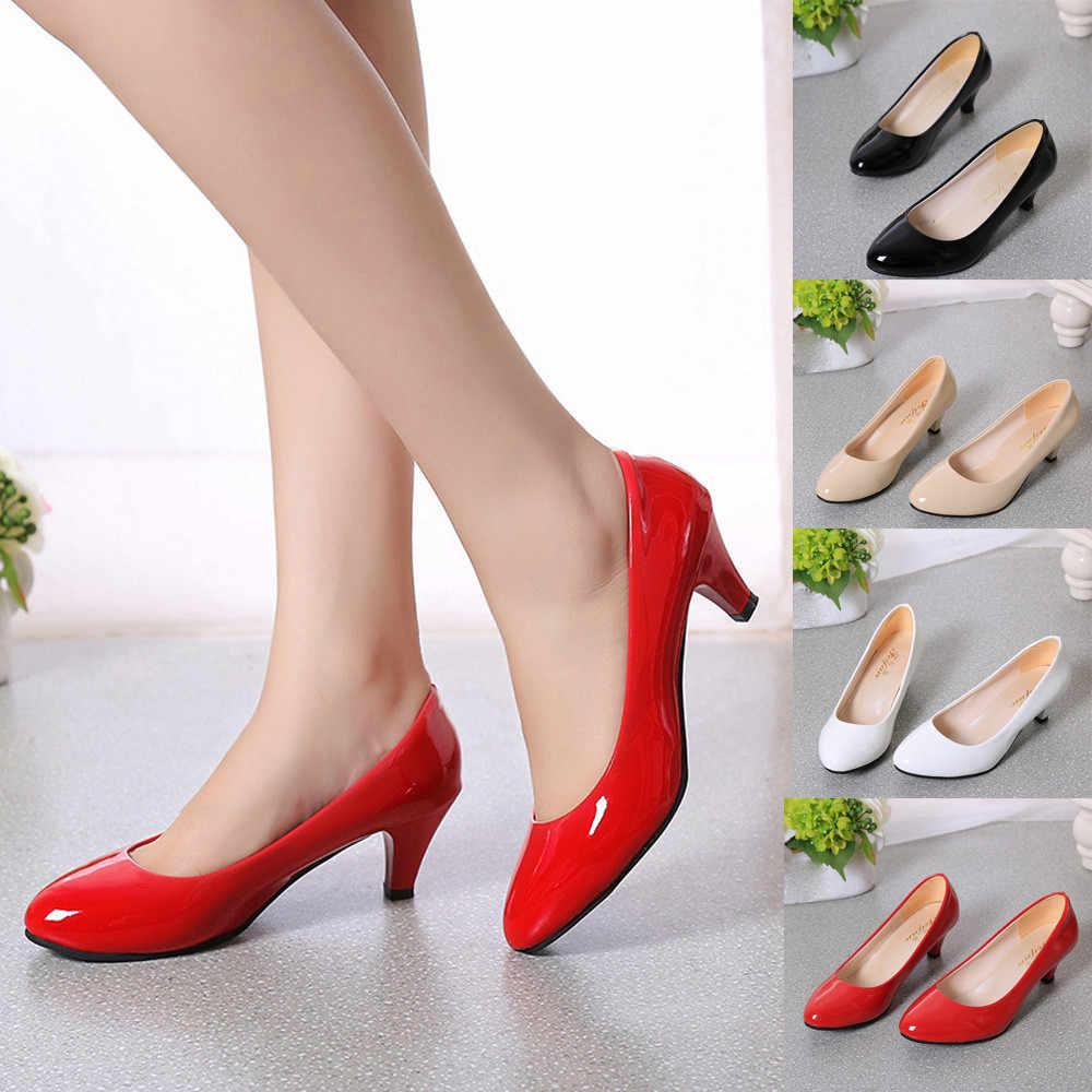 7765b367c206c Nude Shallow Mouth Women Office Work Heels Shoes Elegant Ladies Low ...