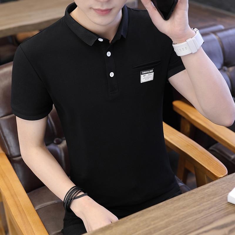 Mens Polo Shirt Summer Style Men Business Casual Solid Color Short Sleeve Polo Shirt Slim Cotton Polo Shirt Men Fake Pocket 23