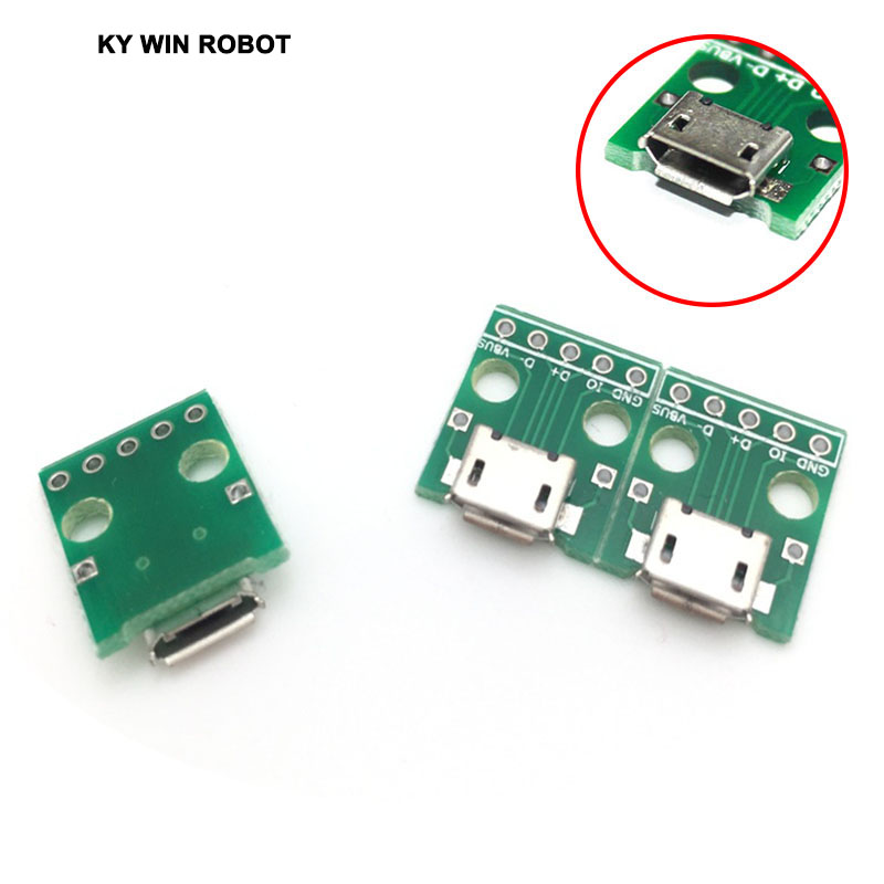 5pcs MICRO USB to DIP Adapter 5pin female connector B type pcb converter pinboard 2.54mm ...