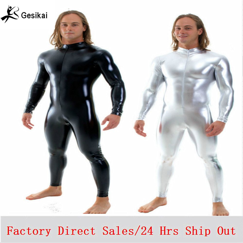 Gratis verzending Heren glanzende Muscle Unitards Stretch rits Zentai Unitards heren Stage Performance kostuums