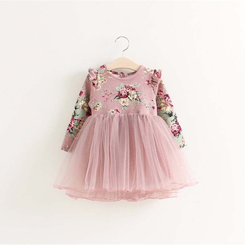 Toddler girls princess dress baby Floral dresses little girls Christmas Party dress kids red pink tutu dress children clothing 1
