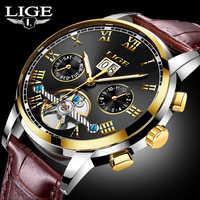 レロジオ Masculino 新ファッション LIGE 高級ブランド腕時計メンズ自動機械式時計男性スポーツ防水レザー腕時計