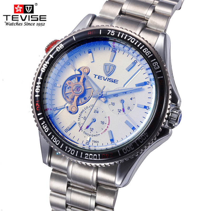 Top Brand TEVISE Luxury Automatic Watch Men Tourbillon Mechanical Watches Sport Military Relogio Automatico Self-Wind Watch Mens forsining automatic tourbillon men watch roman numerals with diamonds mechanical watches relogio automatico masculino mens clock
