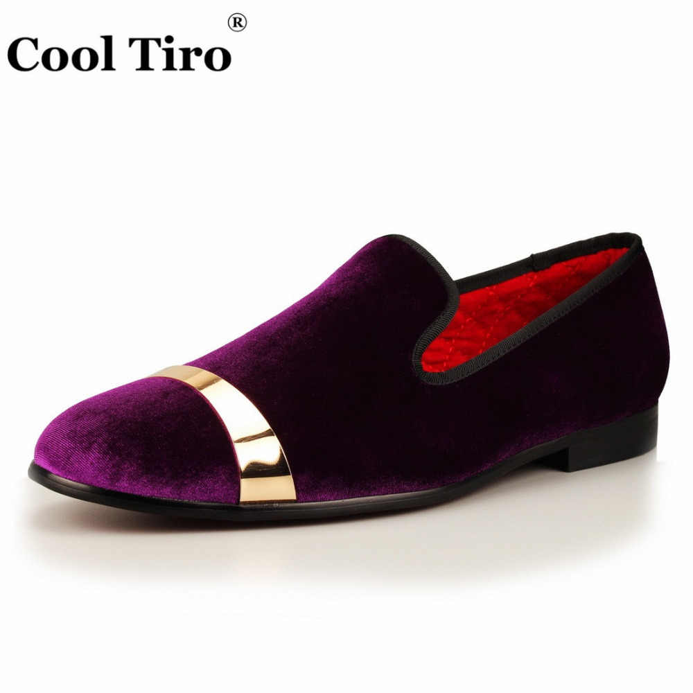 6179e2a4c48 ... COOL TIRO Men Velvet Dress Shoes Purple Velour Loafers Slippers Gold  Metal Sheets Wedding and Party ...