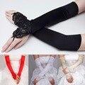 Черный и Белый Кот Белый Красный Длинные Свадебные Перчатки Руки Перчатки Для Невесты Девушка Свадебные Перчатки Атласные Перл Женщины WAN