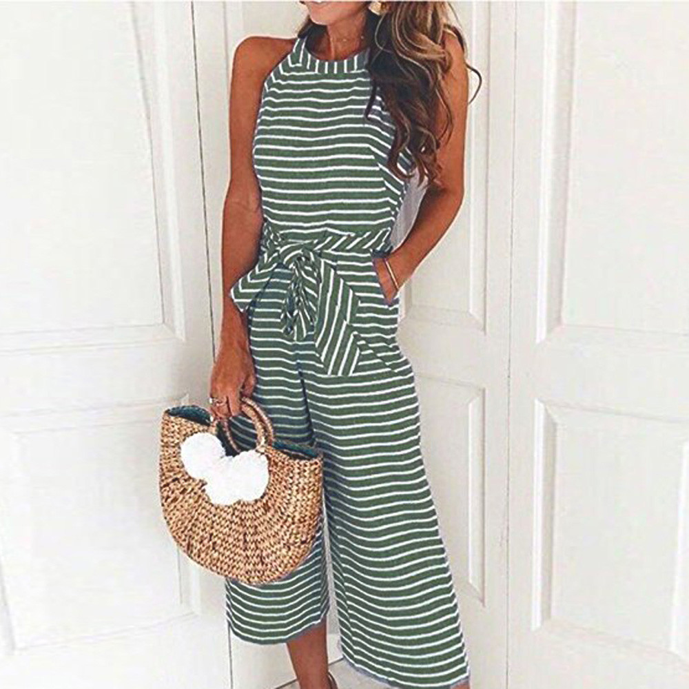 Linen Jumpsuit for women 2018 Striped Bow belt Sleeveless High Waist Long Wide Leg Jumpsuits Fashion Ladies OL Sexy Rompers