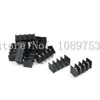 100 Pcs 8 5mm Pitch 4 Pin 4 Way PCB Barrier Terminal Block Connector Black 300V