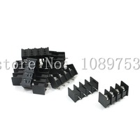 100 Pcs 8 5mm Pitch 4 Pin 4 Way PCB Barrier Terminal Block Connector Black 300V