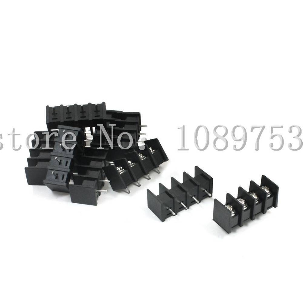100 Pcs 8.5mm Pitch 4 Pin 4 Way PCB Barrier Terminal Block Connector Black 300V 20A 5 pcs 400v 20a 7 position screw barrier terminal block bar connector replacement