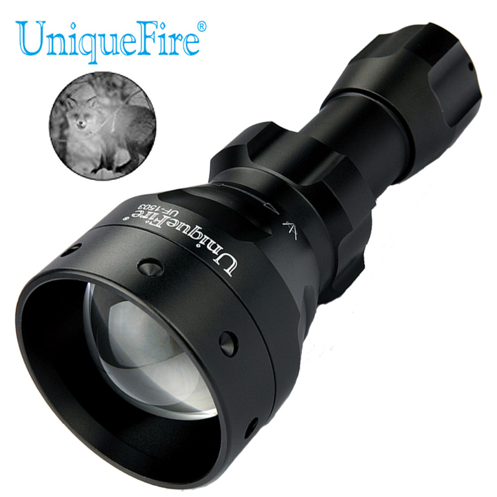 UniqueFire 1503 IR 850nm 4715AS Infrared Light LED Flashlight 5 Watts Zoomable 50mm Convex Lens Light