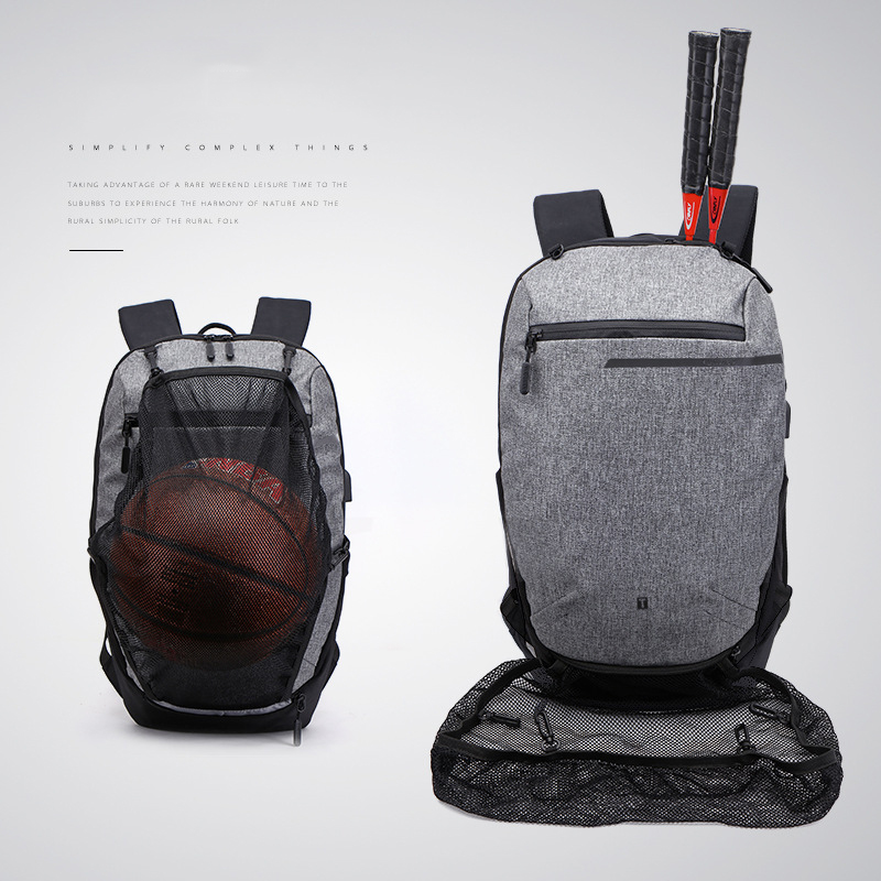 Multifunction USB Charging Backpack Men Waterproof Outdoor Fitness Bag For Teenager Laptop School With Football Basketball Net