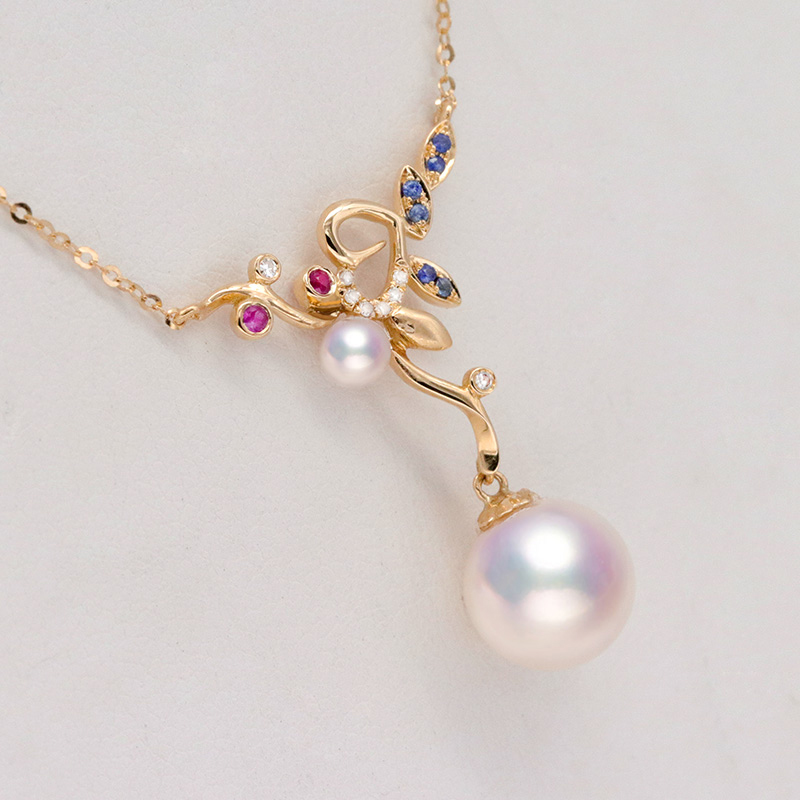ShiFuYuan New Design 18K Rose Gold Seawater Pearl Pendant Necklace Akoya Pearl Pendant with real diamond Necklace fine Jewelry
