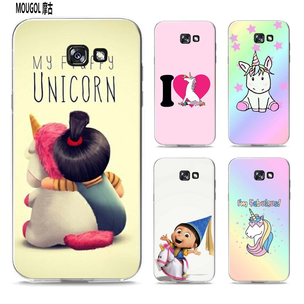 MOUGOL My Unicorn Agnes fashion  design transparent hard case cover for Samsung Galaxy A3 A5 A7 A8 A9 2016 2017 Note 8