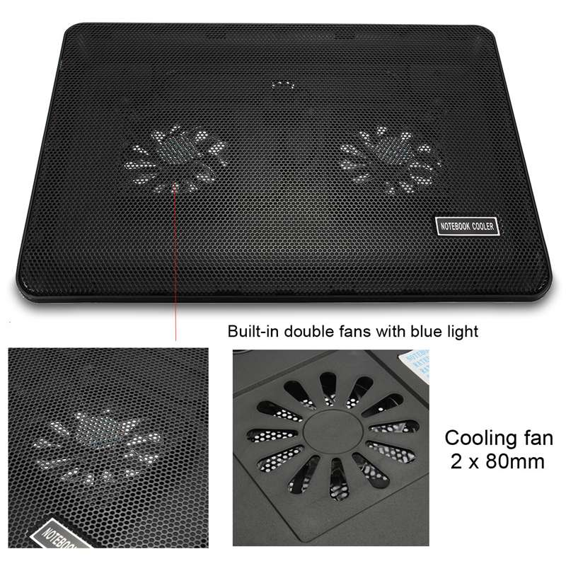 Бесшумный 10-17 дюймов ноутбук радиатор подсветка ноутбук охлаждающая подставка Профессиональный Большой Вентилятор Охлаждающая база с светильник для ноутбука