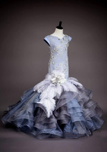 Exiquiste Trumpet Tiered for Girls Pageant Dresses Flowers Beads Feather Little Girls Party First Communion Gown