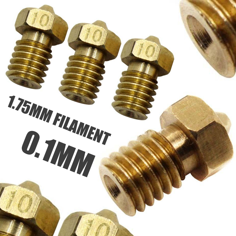 Creality CR-10 All Metal Hotend Ender 3 3X 0.4mm CraftBot Tevo Tornado 3D Printer 3pcs MK8 Plated Wear Resistant Brass Nozzle 0.4mm Compatible with 1.75mm Makerbot MK8 extruder