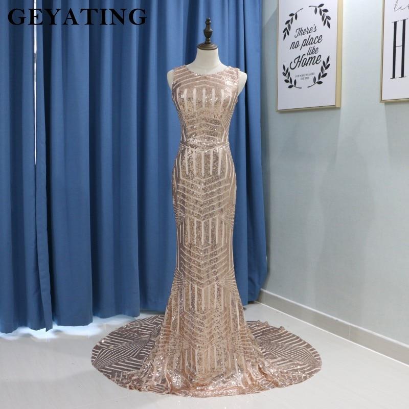 Rose Or Sequin Sirène Longue de Demoiselle D'honneur Robes Pas Cher 2018 Robes de dama de honor largo Occasion Spéciale Robe pour Femmes