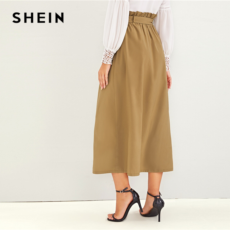SHEIN Abaya Camel Paperbag Waist Single Breasted Belted Skirts Womens Summer Autumn High Waist Solid Flared A Line Long Skirt 2