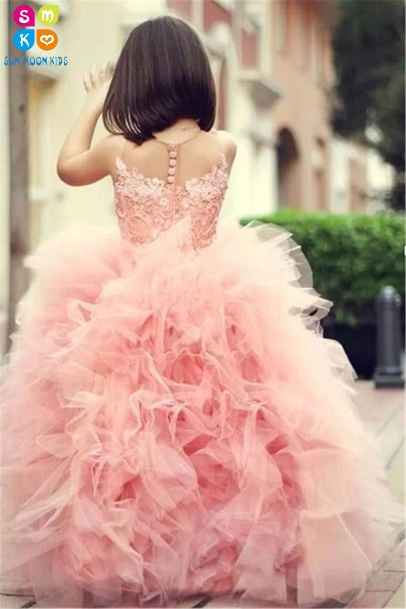 Adorable Sweet Girl Pageant DressPink Lace Appliques Ruffled Zipper Up Peach Organza Tulle Ball Gown Wedding Dress Sheer Neck black casual round neck ruffled dress