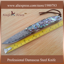 DS051N fashional damascus steel abalone color shell handle pocket utility camping knife tanto knife facas militar