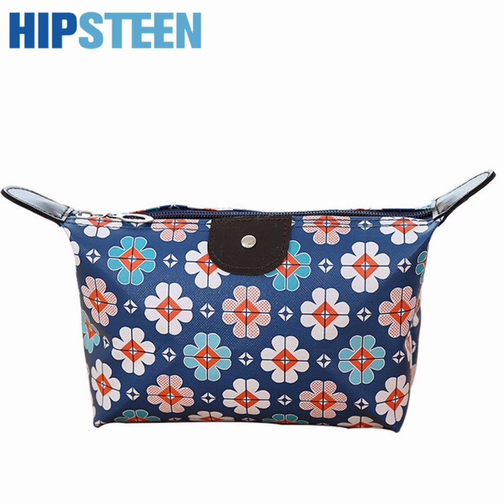 HIPSTEEN Casual Pu Leather Printing Women Cosmetic Bags Makeup Organizer Travel Cases Store Make Up Bag Organizer Cute Khaki fashion cosmetic bags high quality patent leather make up bags ladies cosmetic cases organizer bags cute cosmetic bag