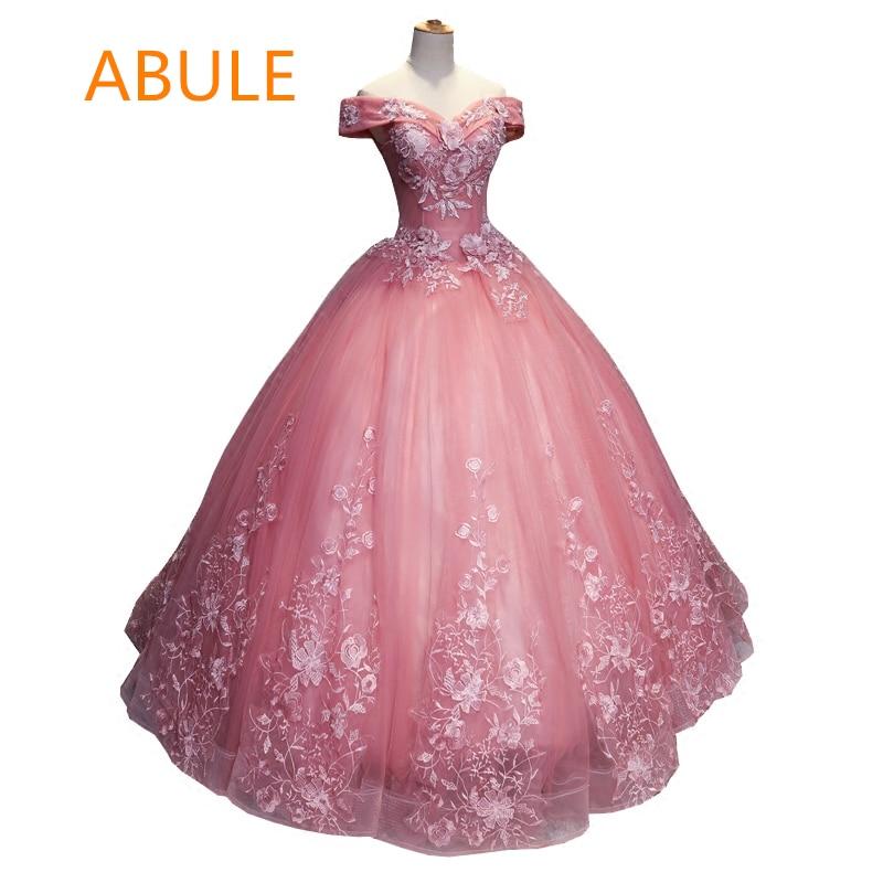 7a205b86418 abule Ball Gown pink Quinceanera Dresses Long appliques flowers lace cap  sleeve Vestidos De 15 Anos