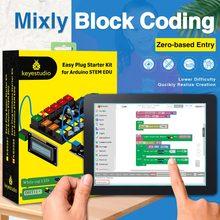 Keyestudo kit de aprendizagem para arduino, fácil de plugue, edu/compatível com bloco misto