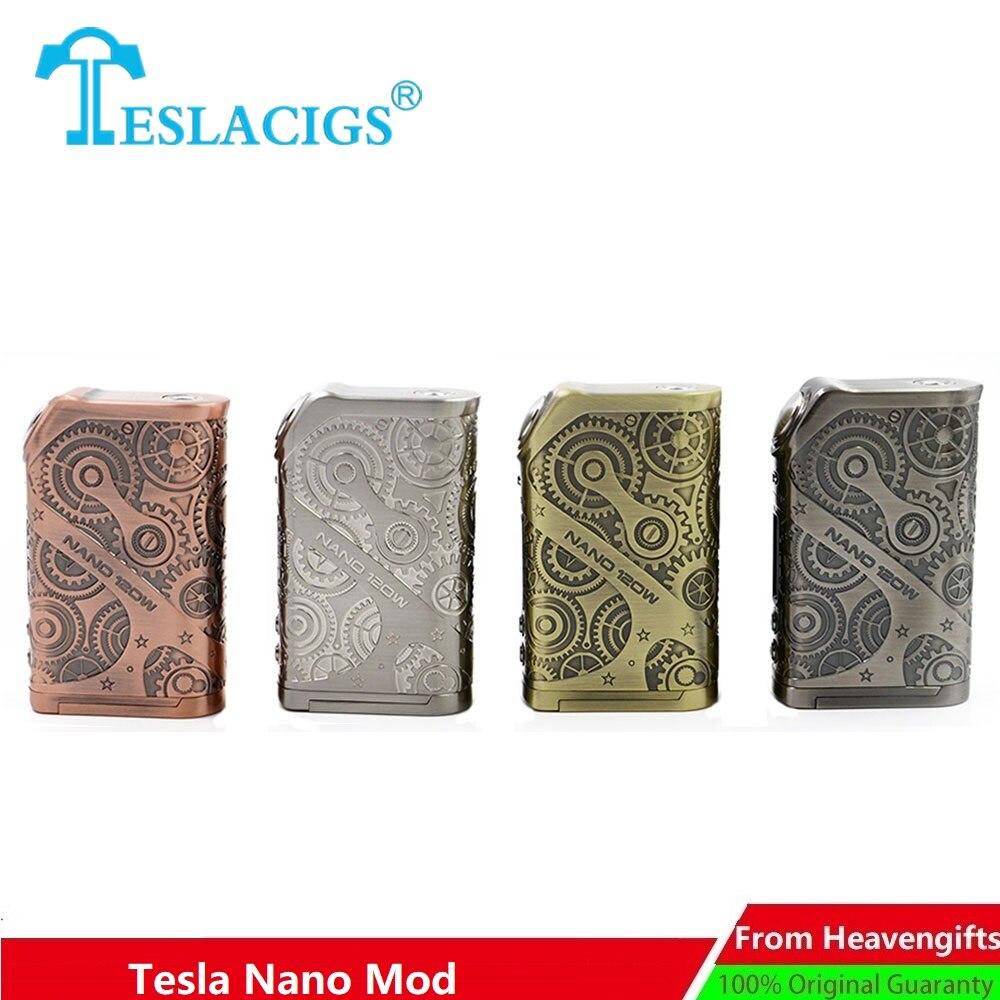 Original Tesla Nano 120 W TC boîte MOD No 18650 batterie Style Punk & fonction de mémoire Cigarette électronique Mod VS Tesla Punk/glisser 2