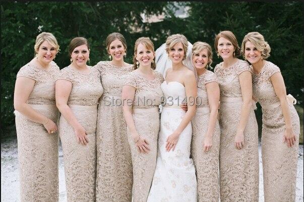 7bfe6e4338f New Arrival V-Neck Long Lace Sheath Short Sleeve Khaki Chiffon Bridesmaid  Dresses Prom Formal Gown Custom Made 2 4 6 8 10 12 14