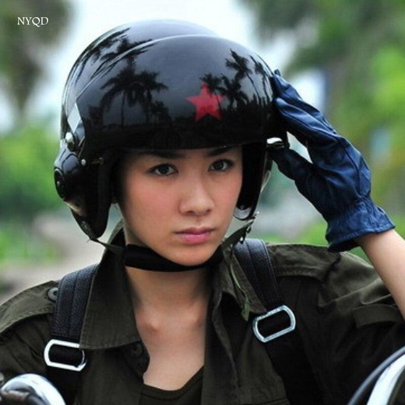 Cool! 2017 nouveau Haute qualité SAVOIRS TRADITIONNELS Chinois Military Air Force Jet Pilot Open Face Moto Vert Casque et Visière jet pilote casque