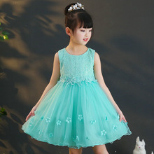 Girls flowers embroidered princess dress beautiful party sleeveless wedding 3-9years