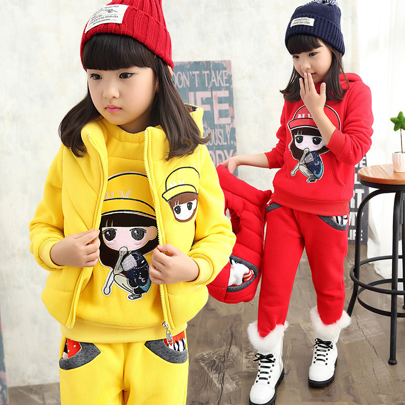 2016 Winter girls fashion plus thick velvet clothing set Korean version of kid girls cartoon three