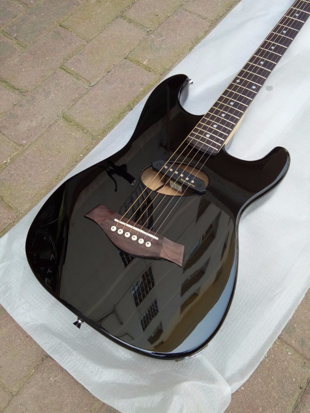 Put Pickups On Acoustic Guitar : hollow electric guitar st body black color install pickup with acoustic string in guitar from ~ Hamham.info Haus und Dekorationen