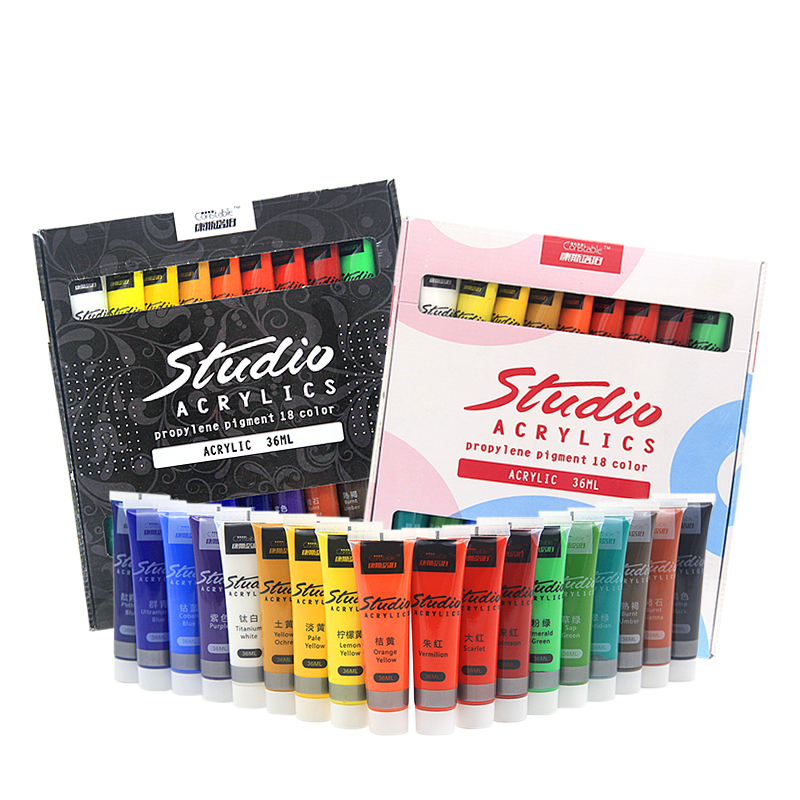 Acrylic Paint Set Colors 36 ml Fabric Paint for Clothing Textile nail fiber pigment acrylic paints for painting big Art supplies 6 ml 12 colors professional acrylic paints set hand painted wall painting textile paint brightly colored art supplies free brush