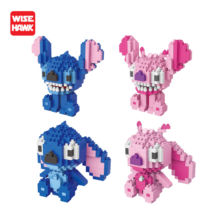 Wise Hawk Building Blocks Stitch Anime Kawaii Cartoon Nano Blocks Mini Bricks DIY Model Building Kit Educational Toys For Kids цена