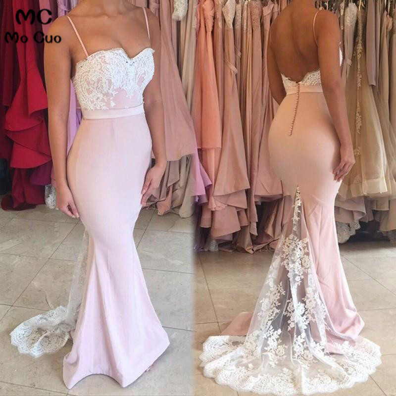 Elegant 2018 Blush Pink Mermaid   Evening     Dresses   Prom Party   Dress   Spaghetti Straps Spandex Satin Backless Robe De Soiree Longue